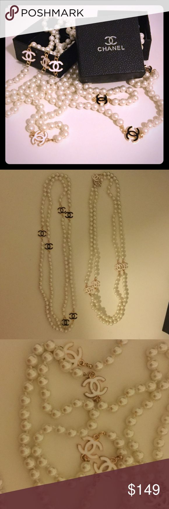 CC White Pearl Necklace Measuring at approximately 26 inch long. Can be worn doubled up too. Choose white OR black cc necklace. Both good tone. 6 cc on each necklace. Priced just right. Comes with box and dust bag. Only one of each available. Won't last long. Don't lowball offer please be reasonable high quality piece. CHANEL Makeup Lipstick