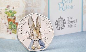 The Royal Mint's special, coloured edition of its Peter Rabbit coin - and yes, that is real tender in the United Kingdom (face value is ca £0.70, though it is really more of a colector's item)