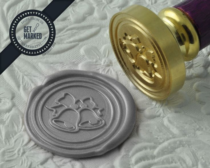 Wedding Bells - Wax Seal Stamp by Get Marked - Wedding Collection (WS0184).    The stamp is ideal for wedding, engagement party and bridal shower invitations. #GetMarked, #waxsealstamp, #waxseal, #wax, #wedding, #invitation