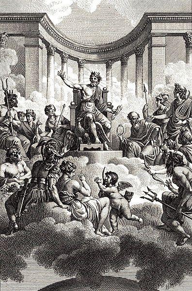 Os Doze Deuses Gregos (Zeus no trono), por Nicolas-André Monsiau (1754- 1837), finais do século XVIII.