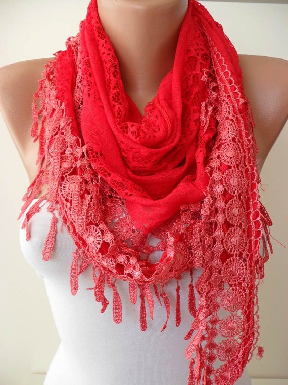 Red  Lace Shawl  with Lace Edge by SwedishShop on Etsy, $17.90