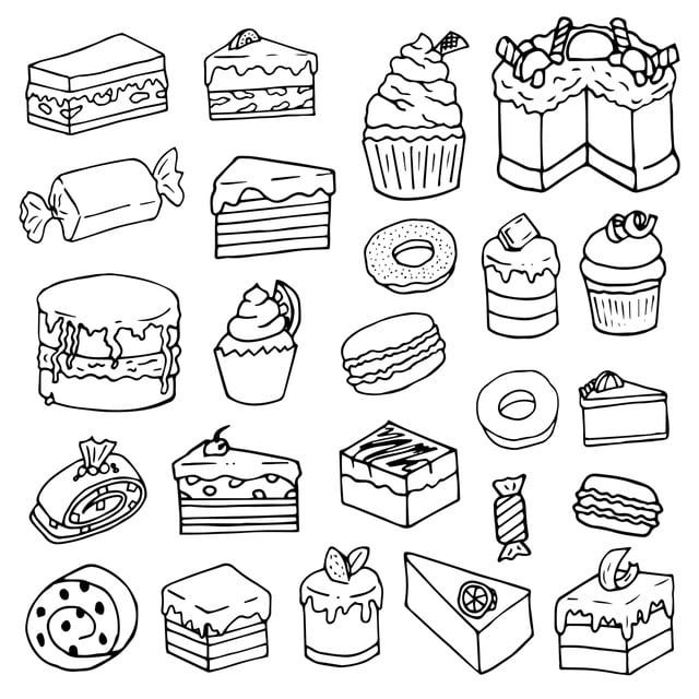 Dessert Pastry Sweet Doodle Isolated Vector Hand Drawn Elements On White Background Doodle Clipart Cartoon Vector Png And Vector With Transparent Background How To Draw Hands Cookie Vector Doodles