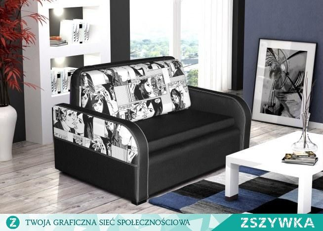 Genialna sofa od Mega Mebli. Wygląda obłędnie, w szczególności ten komiksowy wzór <3 Kocham, kocham, kocham <3 <3