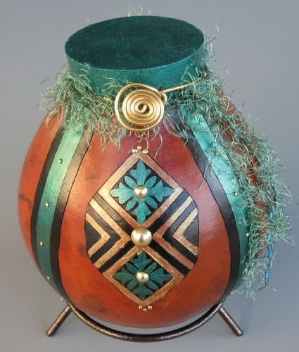 Simply Gourdgeous gourd decorated in emerald and gold