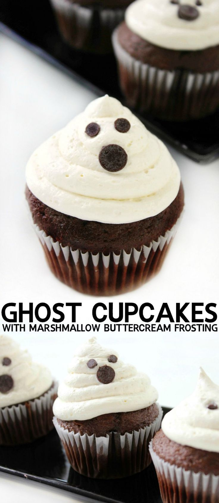 These Ghost Cupcakes with Marshmallow Buttercream Frosting are a spooky Halloween treat without any trick!