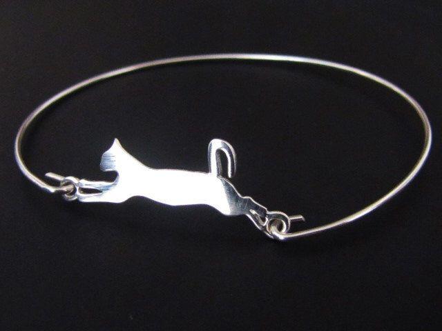 $27 Cat Bangle Bracelet,  Cat Bracelet, Sterling Silver, Jewelry, Friendship Bracelet, Gift by odalisca on Etsy https://www.etsy.com/listing/189688578/cat-bangle-bracelet-cat-bracelet