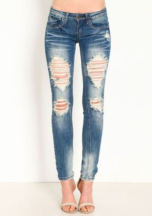 Shredded Skinny Jeans, DENIM