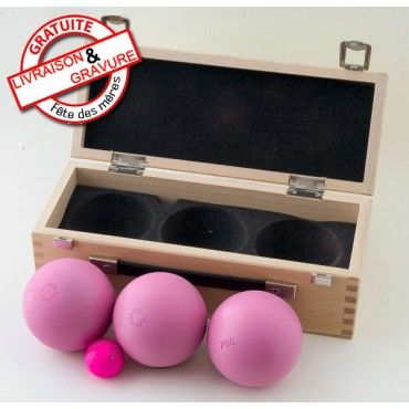 """""""Boule de petanque rose Inox 120 Coffret & Sacoche"""""""