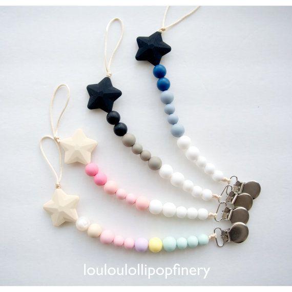 Clip de Lolli Star Silicone perle sucette sucette - anneau de dentition, binky clip, clip universel paci, sangle de jouet, pince anneau de dentition, clip factice, point de bébé