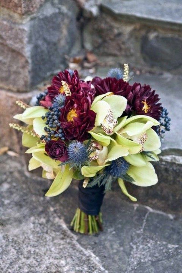 burgundy navy wedding bouquet / http://www.deerpearlflowers.com/burgundy-and-navy-wedding-color-ideas/2/