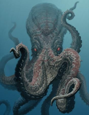 Migas (Aberration)(Huge) – While most octopus species live in the ocean, the bizarre Migas is only found in deep lakes and swamps. While all octopus species have only eight tentacles, these aberrations have around twenty tentacles. When they spot prey they rip it apart in a splash of blood, gore and tentacles, they can flatten their own bodies and can hide in even the smallest of lakes. (African)