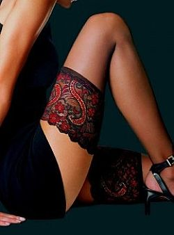 Le Bourget Black and Red Lace essentiel Stay Ups - £10