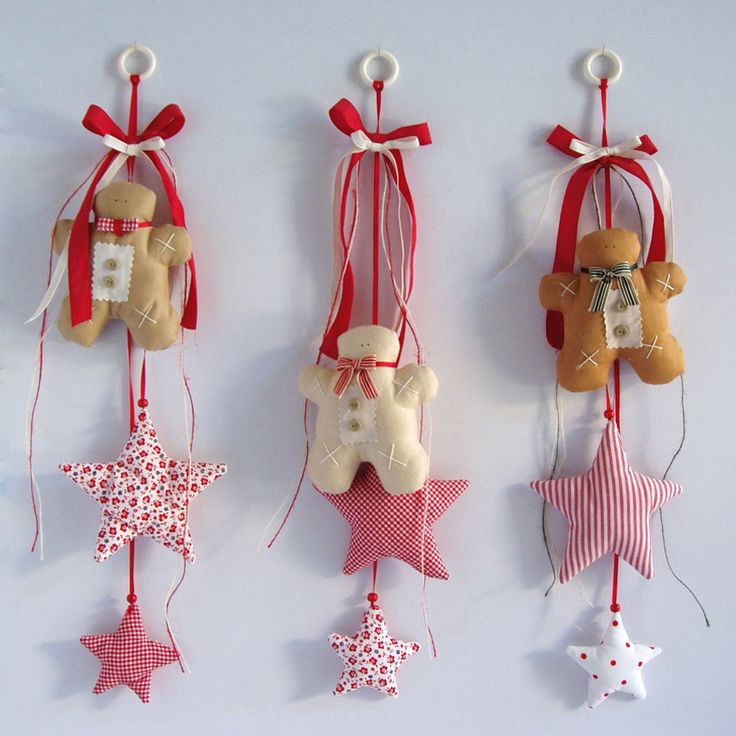 Fabric, wall decoration with ginger cookies and stars, with a bow on hanging ring, in beige and red shades. Ideal for doors!