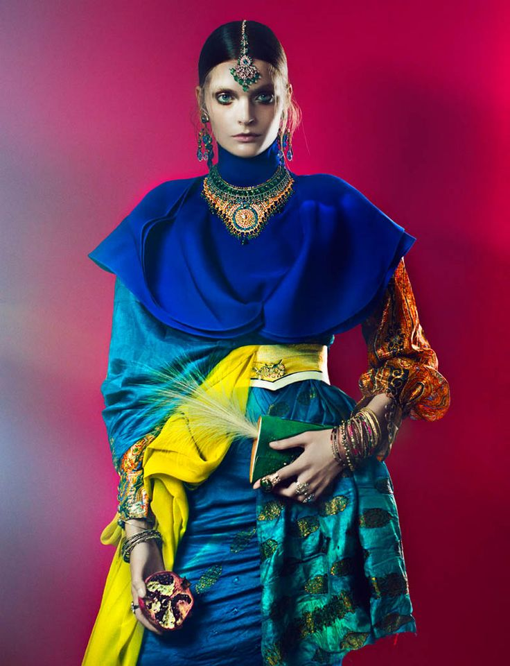 Gertrud Hegelund Models Indian Inspired Fashions for French Revue May 2013