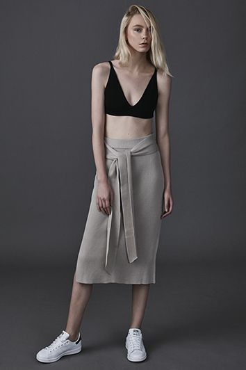 etty&jacques tie-front skirt and knit bra spring summer 2016 knitwear fashion