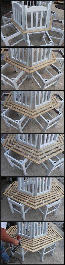 Sechs alte Küchenstühle, ein paar Holzleiisten, Nägel und ein wenig Farbe ... jetzt fehlt mir nur noch der passende Baum! Grandiose DIY-Umsetzung einer teuren Kaufidee von Heather auf hometalk.com