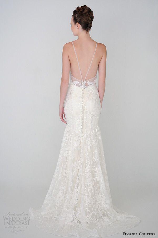 Bei diesem rückenfreien Brautkleid machen die zarten Träger den Rücken besonders zierlich. #hochzeit eugenia couture spring 2015 collection
