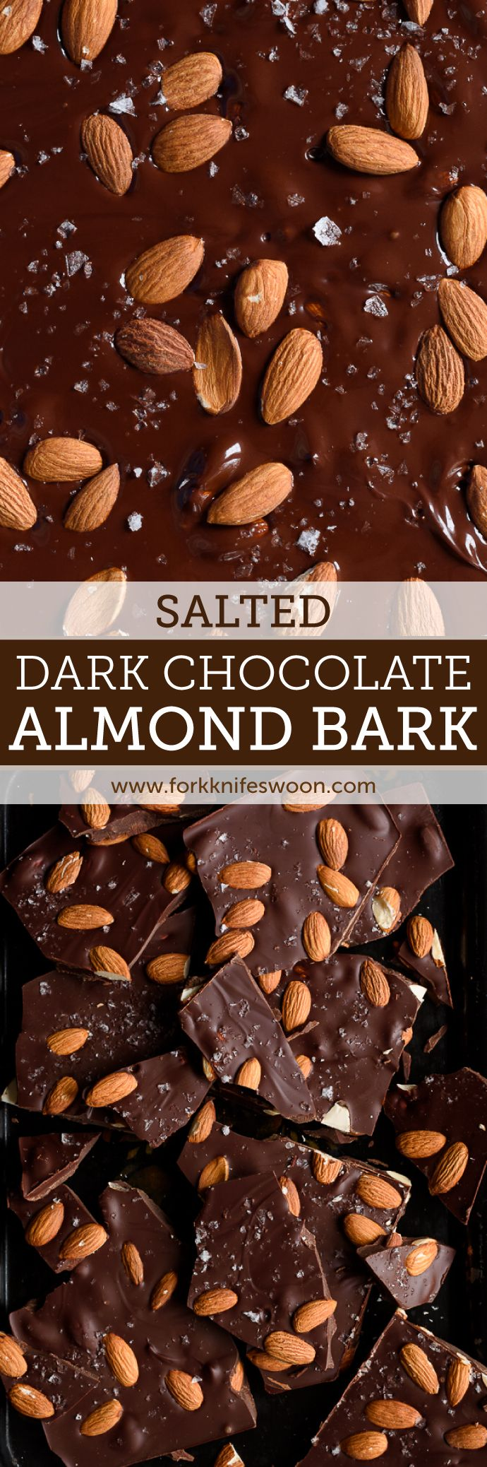 This salted dark chocolate almond bark is super easy and perfect for holiday gifting! | via forkknifeswoon.com