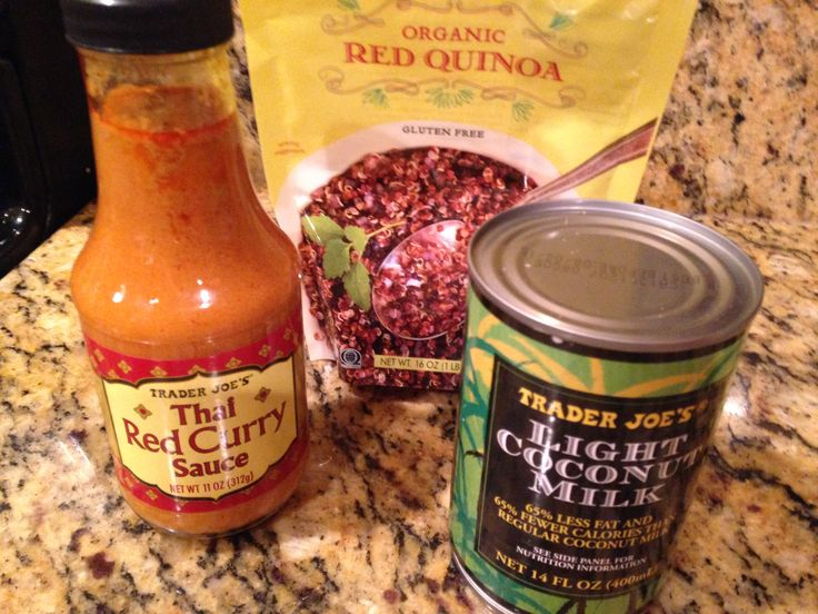 chicken quinoa curry using trader joes red curry sauce
