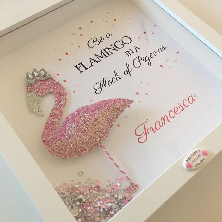 'Flamingo Glitter Design' Frame