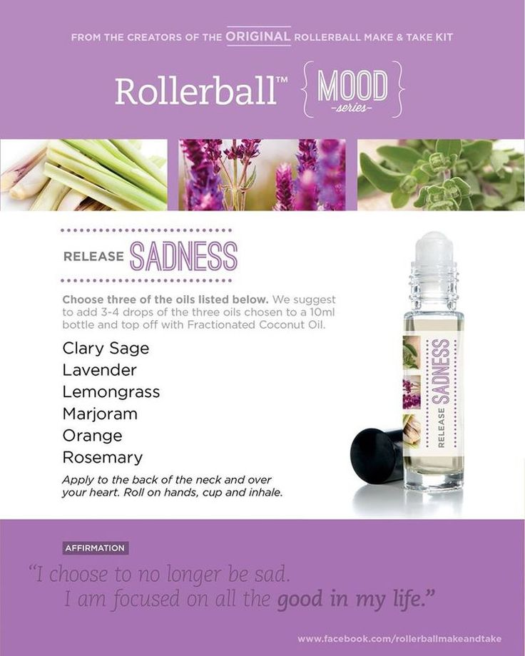 Essential oil roller bottle recipe to release sadness.