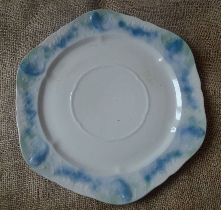 Old Dinnerware Pottery Porcelain PLATE w/ fish pattern Collectibles Home Decor
