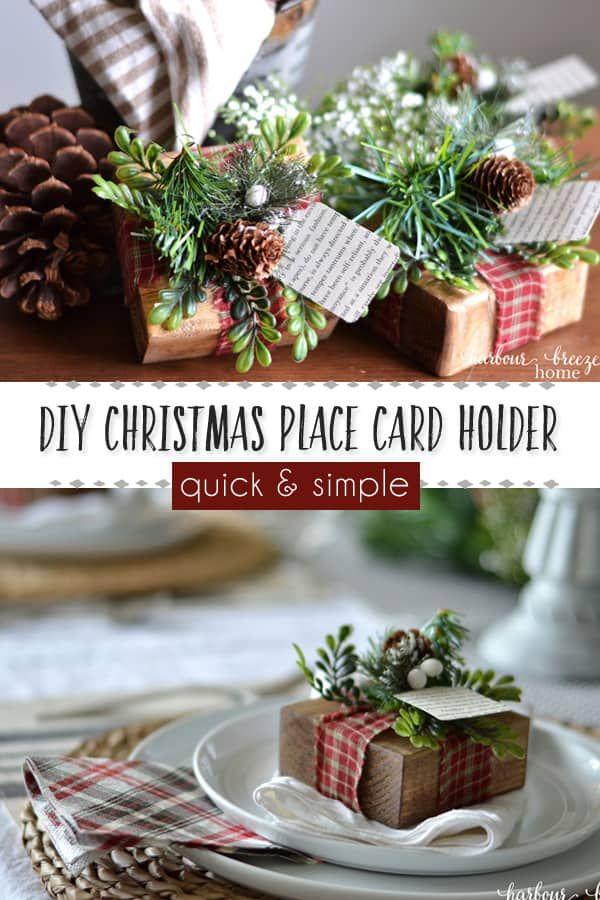 Name Card Holders Wreath Name Place Cards Christmas Decorations Rustic Christmas Table Decor Christmas Wedding