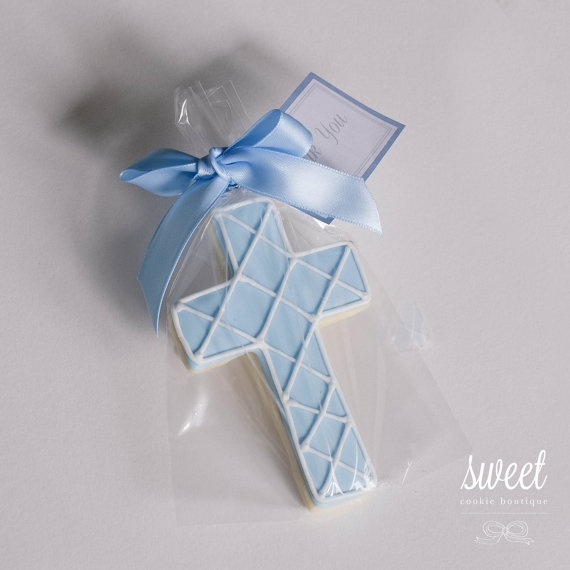 Baby Boy Cross Cookie Favors by sweet cookie boutique. christening cookies. baptism cookies