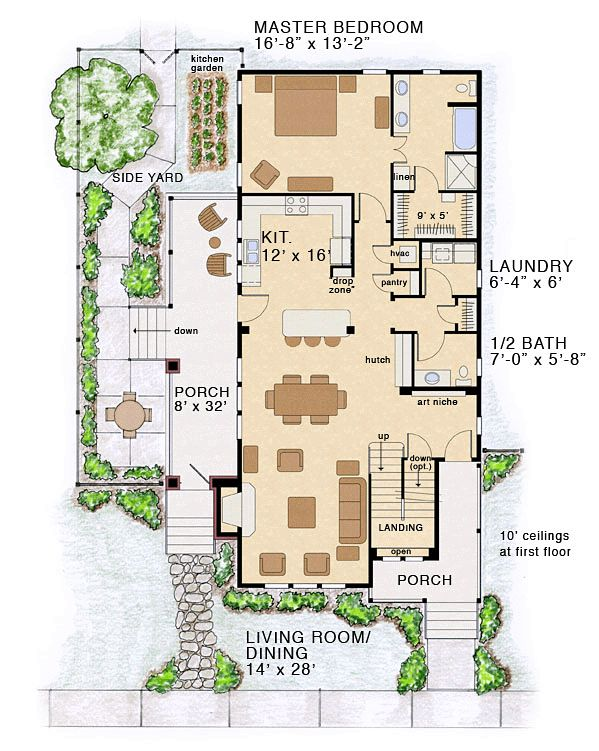 Bungalow coastal cottage country farmhouse traditional Coastal home plans narrow lots