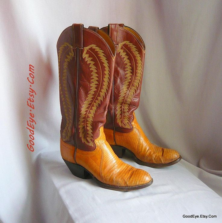 Vintage Reptile n Leather Cowboy Boots JUSTIN / Women Size 8 .5 Eu 39 Uk 6 / LIZARD Flame Stitched Brown Tan / Men Western boot sz 7 .5 D by GoodEye on Etsy