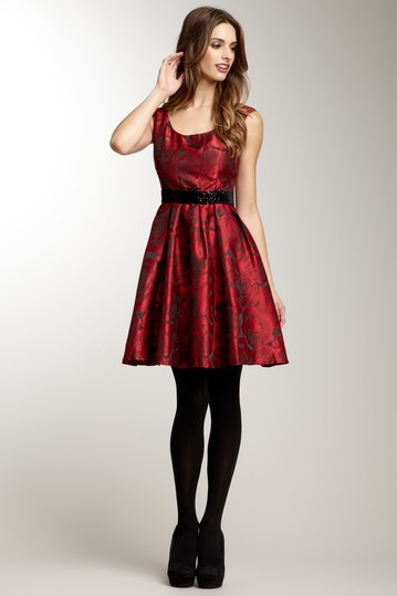 Sleeveless Sequin Waist Print Dress