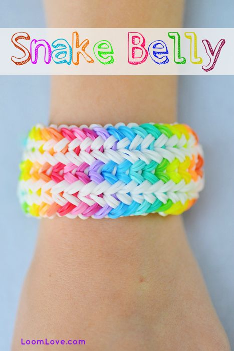 Learn how to make a Rainbow Loom Snake Belly from Justin's Toys. This one is uber challenging.