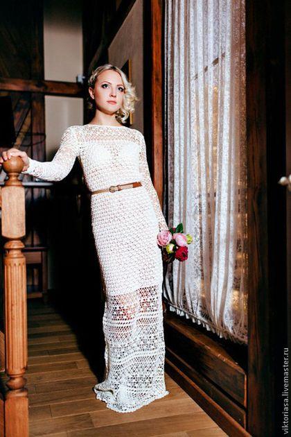 Вязаное платье в пол крючком