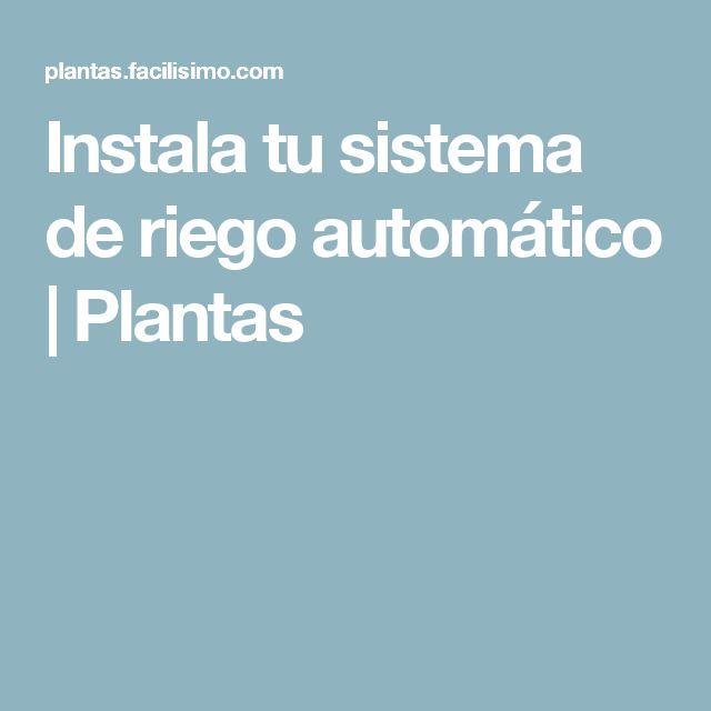 Instala tu sistema de riego automático | Plantas