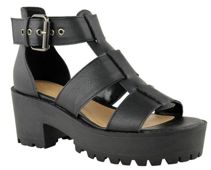 Femmes-Gladiateur-Grosse-Semelle-Sandales-a-Lanieres-Chaussures-Plateforme