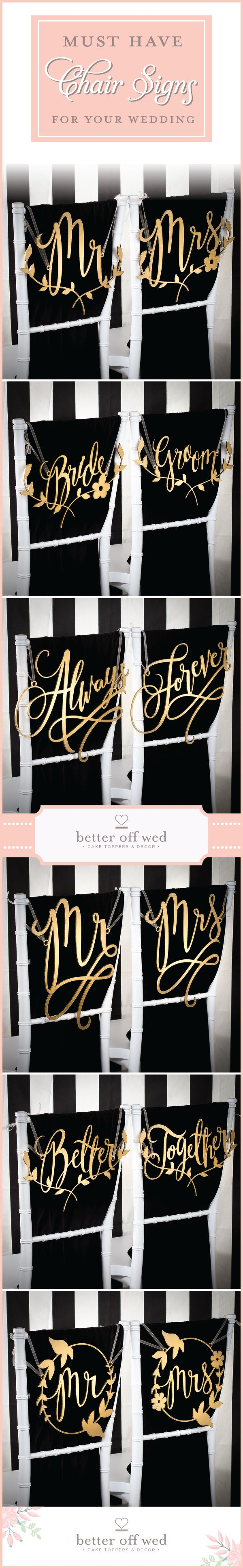Must have wedding chair signs for your big day! <3 This site has so many elegant gold and silver designs to choose from!