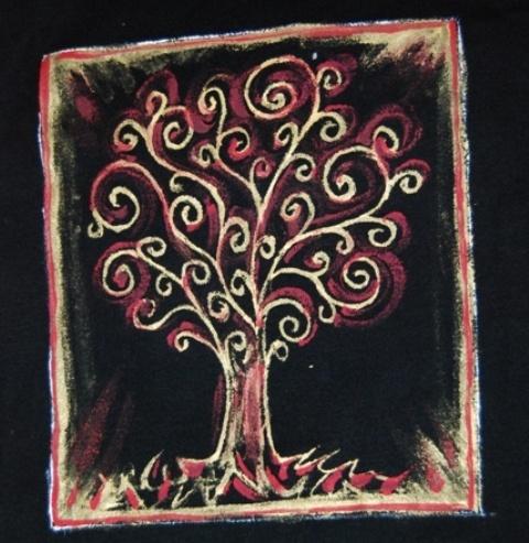 Koszulka Damska Czarna z ręcznie malowanym motywem. (Rozm. 14-16, dlugi rękaw)