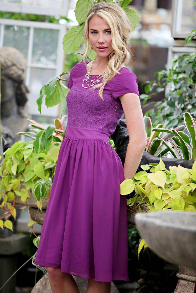 Isabel Modest Dress in Purple