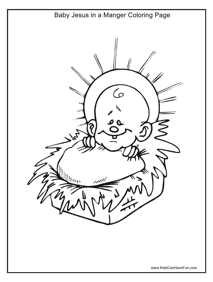 baby jesus with halo in manger coloring page httpwwwkidscanhavefun - Baby Jesus Manger Coloring Page
