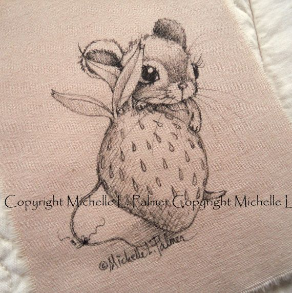 Original Pen Ink Fabric Illustration Quilt Label by Michelle Palmer Mouse Strawberry May 2014