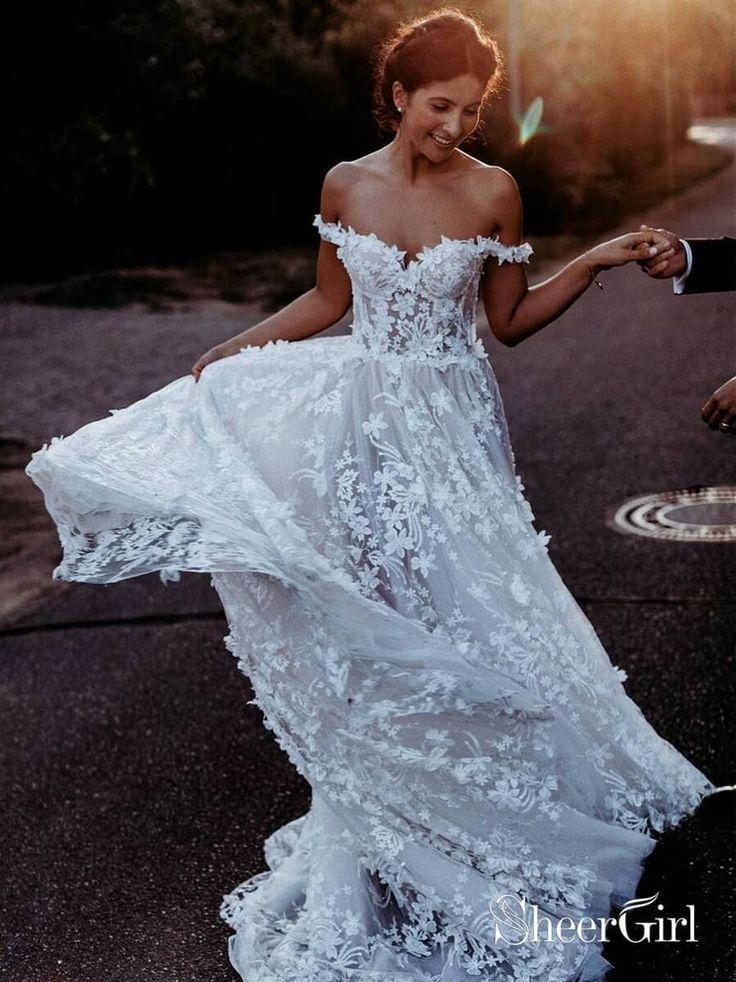 Off the Shoulder Lace Beach Wedding Dresses Rustic Boho Wedding Dress AWD1435