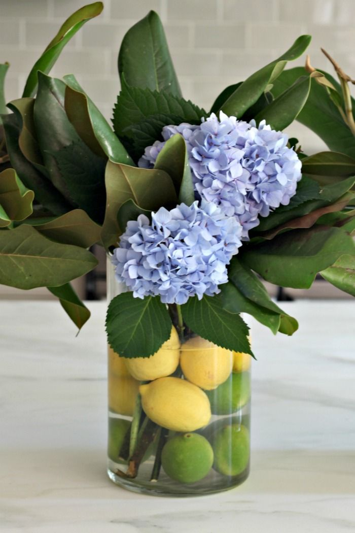Hydrangea Flower Arrangement Hydrangea Magnolia And Citrus Hydrangea Flower Arrangements Summer Flower Arrangements Hydrangea Flower