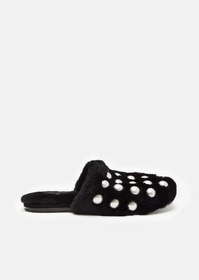 Alexander Wang Amelia Shearling Slippers Black Size: EU 36