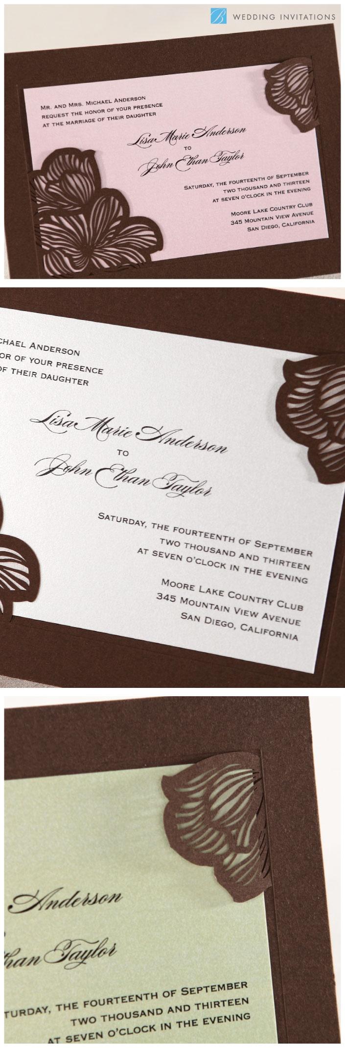 Laser Cut Flower Frame By B Wedding Invitations #weddinginvitations  #bweddinginvitations #wedding #invitations