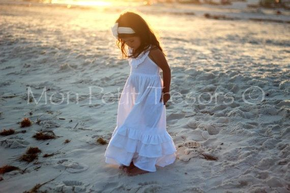 White linen maxi dress size 2 to 4 flower girl dress for Flower girl dress for beach wedding