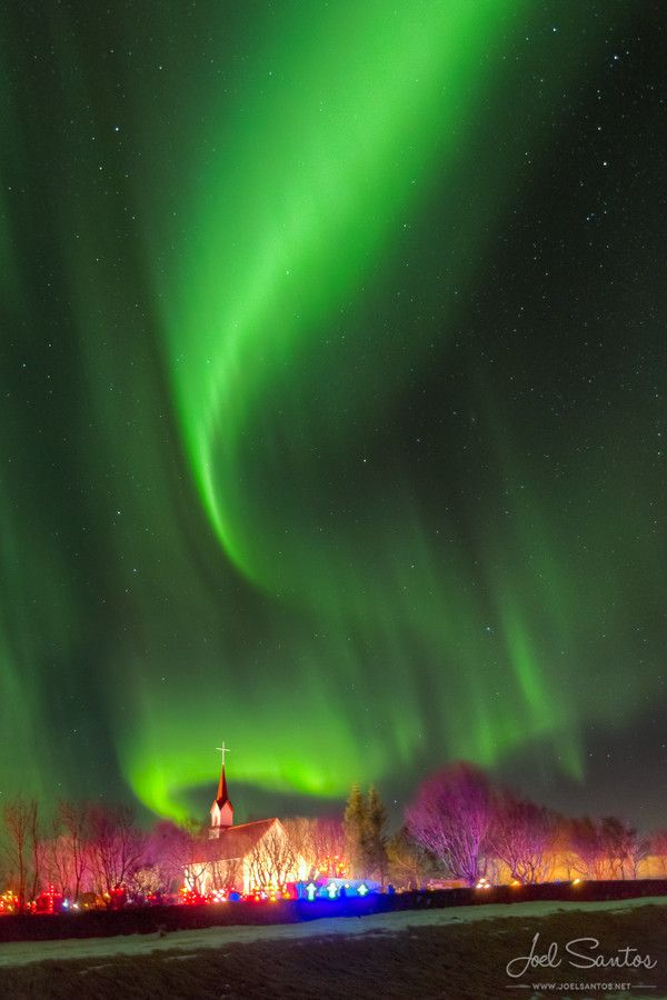 Otherworldly Northern Lights by Joel Santos on 500px ~ Church, Iceland