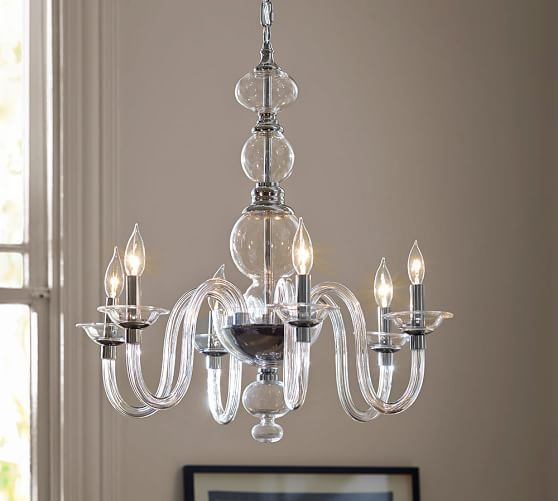 "Blown Glass Chandelier | Pottery Barn  Overall: 25"" diameter, 25.9"" high Height: 25.9"" minimum; 81"" maximum for hardwire. Canopy: 6"" diameter x 7"" high Chain: 12' long. Bulb (6): 40 watts, type B (not included)  HAS CHROME CANOPY"