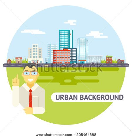Geek Businessman Urban Landscape City Real Estate Agency Cars Road Modern Flat Design Icon Template Vector Illustration