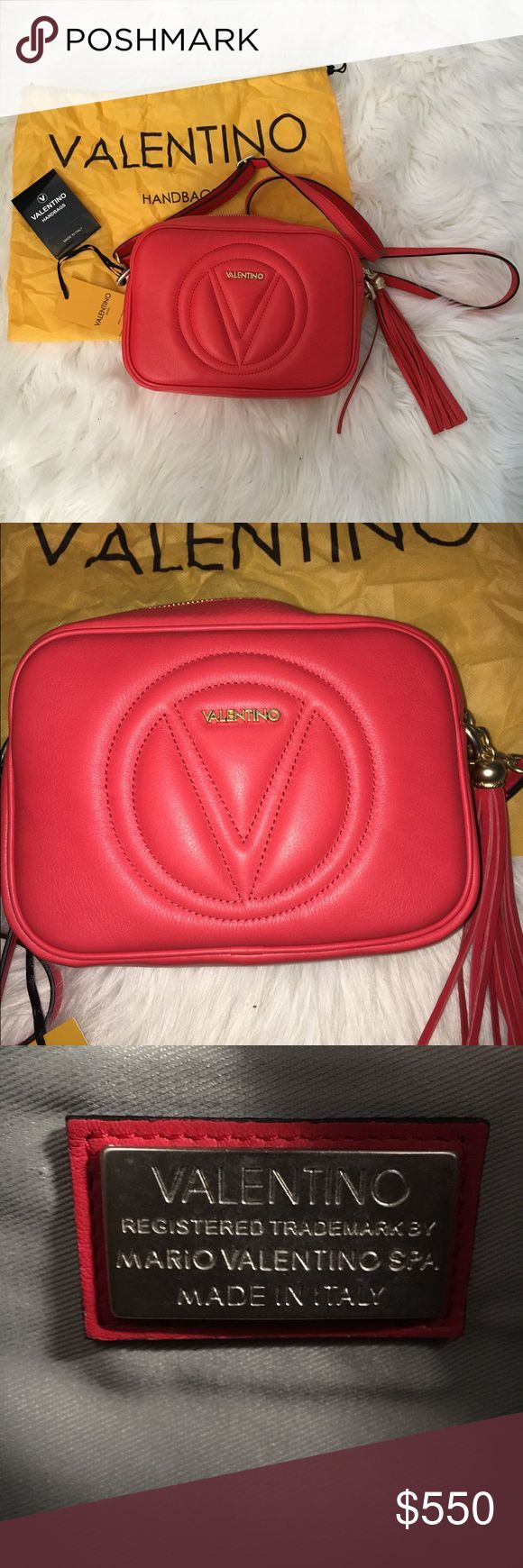 """Valentino beautiful bag. Brand new with tags, beautiful red/orange color no scratches . Strap can be removed and bag can be used as a clutch. Strap 13""""-28"""" drop, 9""""W X 6"""" H X 3""""D Valentino Bags Crossbody Bags"""