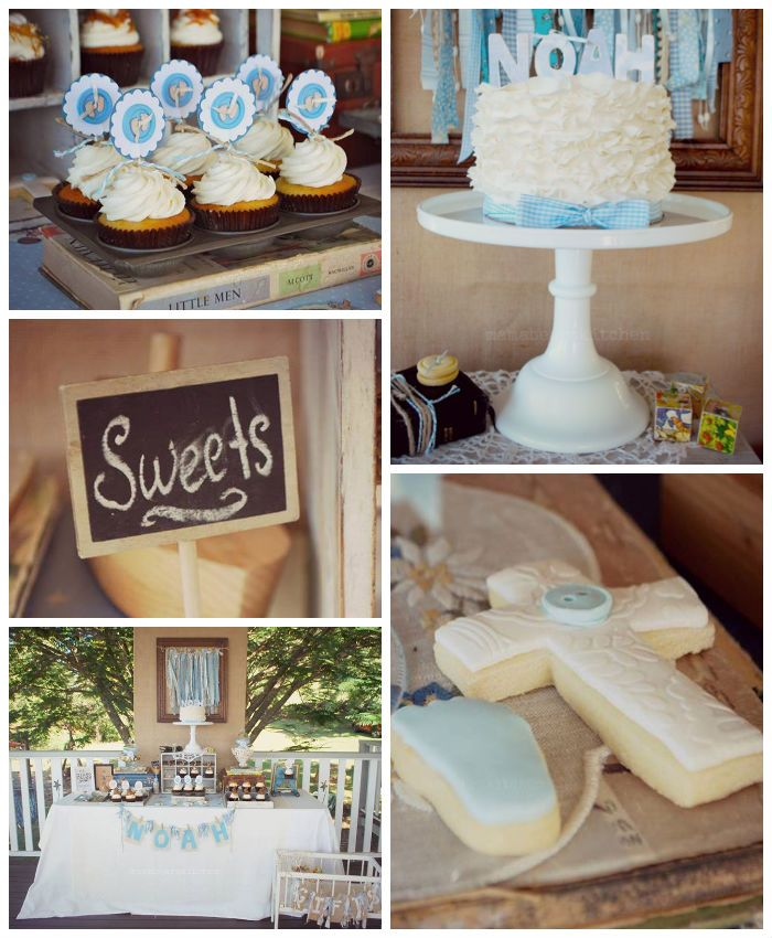 Vintage Christening + Baby Blessing Party via Kara' s Party Ideas KarasPartyIdeas.com Cakes, favors, cupcakes, games, and more! #vintageparty